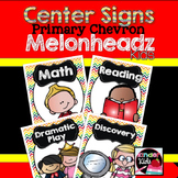 Center Signs {Primary Chevron Melonheadz Kids Edition} EDITABLE
