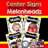 Center Signs {Primary Chevron Melonheadz Kids Edition} EDITABLE