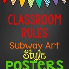 Chalkboard Subway Art Style Classroom Rules Posters