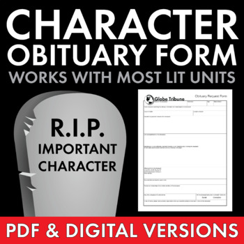 Character Obituary Writing Activity for Gr. 5-12, Use w/almost ANY lit. (CCSS)