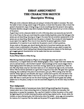 writing a character sketch essay