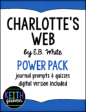 Charlotte's Web Power Pack:  11 Quizzes and 22 Journal Prompts