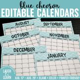 Blue & Green Chevron Horizontal Calendar! {Blank}