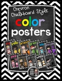 Chevron & Chalkboard Style Color Word Posters