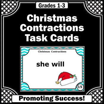 Contractions Christmas Literacy Center Task Cards SCOOT Games