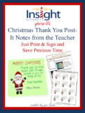Christmas Thank You Printable Post-It Notes from the Teacher