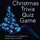 Christmas Trivia Quiz Game 33 Questions, 12 Categories
