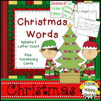 Christmas Activity ~ Christmas Letter/Syllable Count ~ Bon