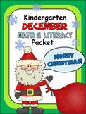 December Christmas Math And Literacy Packet for Kindergarten