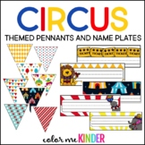 Circus Themed Classroom Pennant Pack & Name Plate Kit