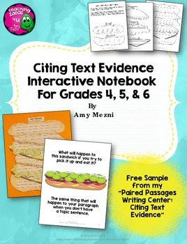 Citing Text Evidence in Essay Writing Interactive Notebook