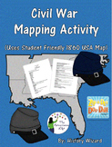 Civil War Mapping Activity (Uses student friendly 1860 USA map)