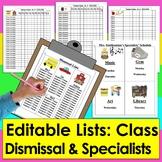 Class Lists & Dismissal List & Specialist Schedule