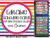 EDITABLE Class Schedule Cards with Times for Blue Pocket Chart