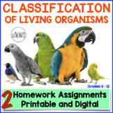 Classification of Living Organisms (Taxonomy) Homework and