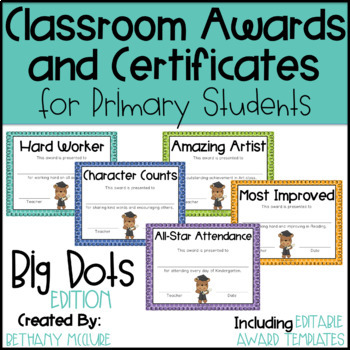 Classroom Awards & Certificates for Primary Students {Polka Dots}