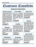 Classroom Classifieds: Customizable Classroom Jobs to fit