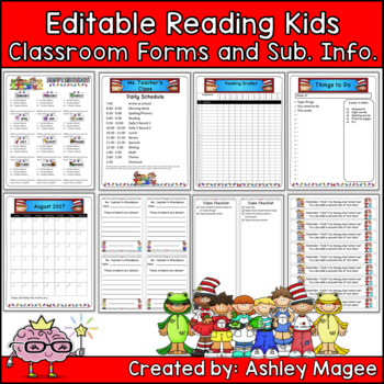 Classroom Forms and Substitute Information - Reading Kids themed
