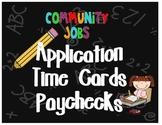 Classroom Job Forms - Application, Time Cards, Paychecks
