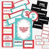 Classroom Labels and Materials Pack - Red & Teal/Turquoise Theme