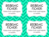 Classroom Library Labels by Genre - Teal Chevron