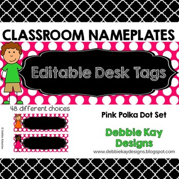 Classroom Nameplates (Editable Desk Tags) Pink Polka Dot