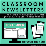 Classroom Newsletters Through the Year: Editable Templates