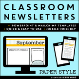 Classroom Newsletters Paper Style: Editable Templates