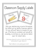 Classroom Organization/Supply labels