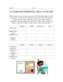 Classroom Perimeter, Area, and Volume