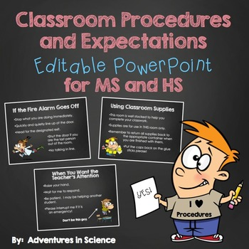 Classroom Procedures and Expectations {Editable} PowerPoint – For MS and HS