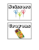 Classroom Supply Organization Labels With Photos and Titles