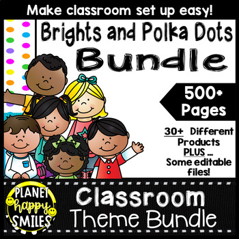 Classroom Decor Theme Bundle ~ Bright Polka Dots and Strip