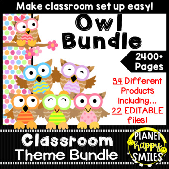 Classroom Theme Bundle ~ Owl Theme