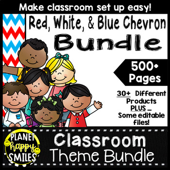 Classroom Theme Bundle ~ Red, White, and Blue Chevron Theme