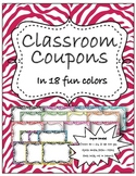 Classroom coupons in fun Zebra Print Colors