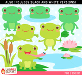 Frog Clip Art - blacklines included