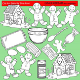 Clip Art Gingerbread Black & White