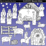 Clip Art Nativity Black and White