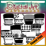 Clip Art: Spring Flower Pots Planters Containers Black Whi