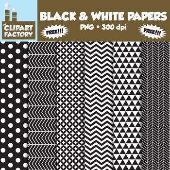 ClipArt: FREE Black & White Fun decorative backgrounds - 6 Digital Papers