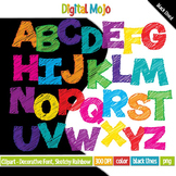 Clipart - Decorative Font, Sketchy Rainbow Uppercase Fill