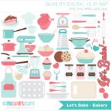 Clipart - Lets Bake (Pink Kitchen Utensils)