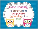 Close Reading OWL themed Posters & Checklist! Questions he