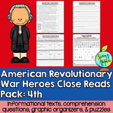 Close Reads Pack: American Revolutionary War Heroes- 4th Grade