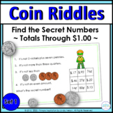 Coin Combinations ~ Superhero's Secret Number Riddle Task Cards