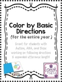 Color By Basic Directions: Great for students with Autism,