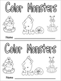Color Monsters Emergent Reader- Preschool Kindergarten- Co