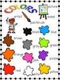 Color Words Word List and Word Wall Cards