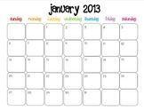 Colorful Modern Calendar for January 2013--Publisher Doc